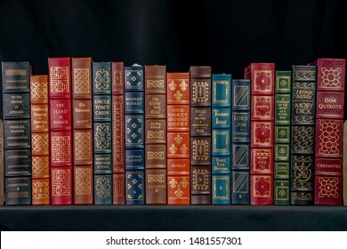 Chicago, IL / USA - August 13, 2019: Beautiful, antique leather bound classic literature, from the famous Easton Press. Illustrative Editorial.