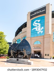 CHICAGO, IL, USA - AUGUST 23, 2019: The exterior of the MLB's Chicago White Sox's Guaranteed Rate Field. The baseball stadium has had many name changes over the years but is best known for Comisky.