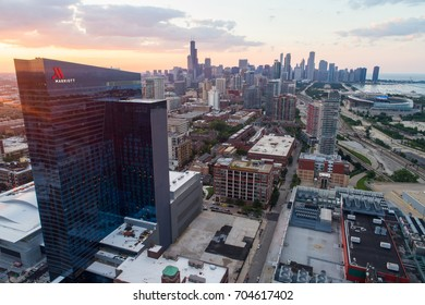 CHICAGO, IL, USA - AUGUST 5, 2017: Aerial image of a Marriott hotel with view of Downtown Chicago IL USA