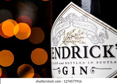 CHICAGO, IL, USA - DECEMBER 30, 2018: Hendrick's Gin bottle in front of Christmas lights. Hendrick's Gin has been created by William Grant & Sons at the Girvan distillery in Scotland since 1999.