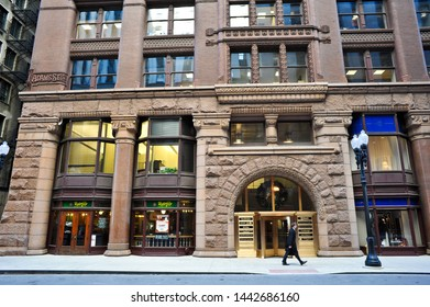 CHICAGO, IL / USA - DECEMBER 8 2010:  The Rookery Building in Chicago's downtown Financial District at126 W Adams has a Potbelly Sandwich Shop on the ground floor.