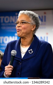 Chicago IL, USA - Feb.26.2019: Mayoral candidate Toni Preckwinkle speaks at her election night event.