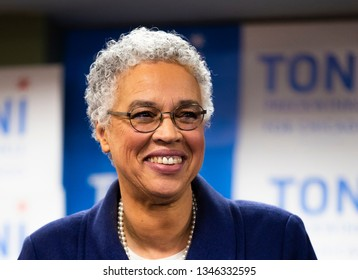 Chicago IL, USA - Feb.26.2019: Mayoral candidate Toni Preckwinkle smiling at her election night event.
