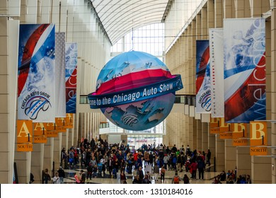 Chicago, IL, USA - February 10, 2019: Shot of the Welcome to the Chicago Auto Show ball.