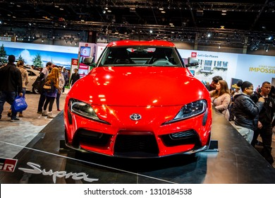 Chicago, IL, USA - February 10, 2019: 2020 Toyota Supra on display at the 2019 Chicago Auto Show.