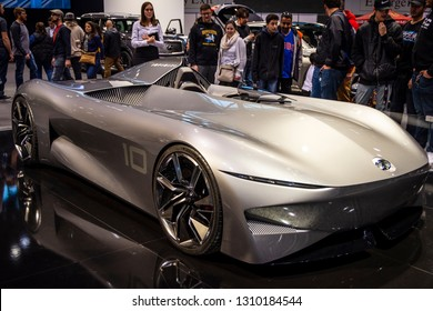 Chicago, IL, USA - February 10, 2019: Infiniti Prototype 10 on display at the 2019 Chicago Auto Show.