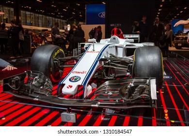 Chicago, IL, USA - February 10, 2019: Alfa Romeo Sauber Formula 1 race car on display at the 2019 Chicago Auto Show.