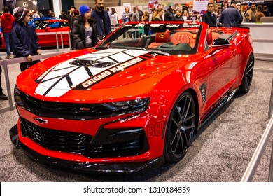 Chicago, IL, USA - February 10, 2019: Official vehicle of the Chicago Blackhawks hockey team at the 2019 Chicago Auto Show.