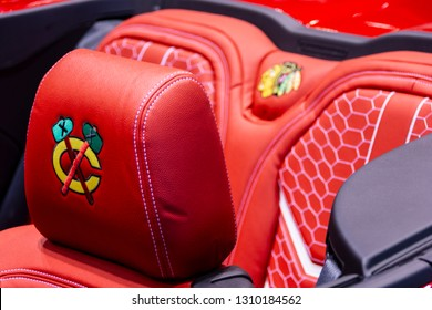 Chicago, IL, USA - February 10, 2019: Headres in the official vehicle of the Chicago Blackhawks hockey team at the 2019 Chicago Auto Show.