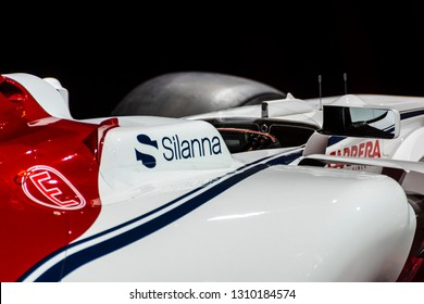 Chicago, IL, USA - February 10, 2019: Side view of Alfa Romeo Sauber Formula 1 race car on display at the 2019 Chicago Auto Show.