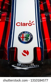 Chicago, IL, USA - February 10, 2019: Nose of the Alfa Romeo Sauber Formula 1 race car on display at the 2019 Chicago Auto Show.