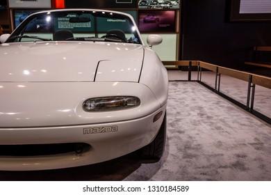 Chicago, IL, USA - February 10, 2019: Shot of the first generation, 1990 Mazda Miata MX-5 at the 2019 Chicago Auto Show.
