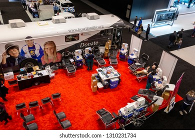Chicago, IL, USA - February 10, 2019: Blood donation point at the 2019 Chicago Auto Show.