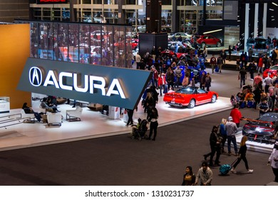 Chicago, IL, USA - February 10, 2019: Overhead shot of the Acura booth at the 2019 Chicago Auto Show.