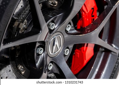 Chicago, IL, USA - February 10, 2019: Closeup shot of the the Acura badge on an Acura NSX wheel.