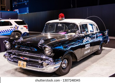 Chicago, IL, USA - February 7, 2019: Shot of a 1957 Chevrolet Model 150 Chicago police vehicle at the 2019 Chicago Auto Show.