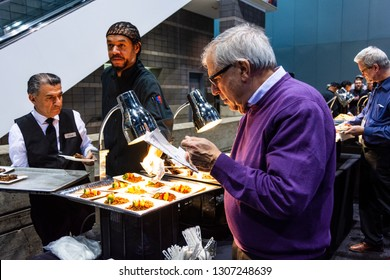 Chicago, IL, USA - February 7, 2019: Lunch being served at the 2019 Chicago Auto Show on media preview day.