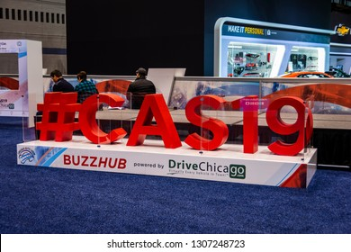 Chicago, IL, USA - February 7, 2019: Shot of the logo of the official 2019 Chicago Auto Show hashtag ; #CAS19.