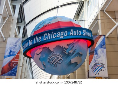 Chicago, IL, USA - February 7, 2019: Shot of the Welcome to the Chicago Auto Show ball.