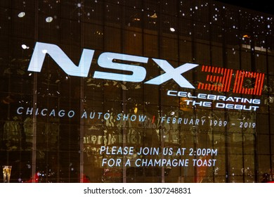 """Chicago, IL, USA - February 7, 2019: Backdrop at the """"Celebrating 30 years of NSX"""" event at the 2019 Chicago Auto Show."""