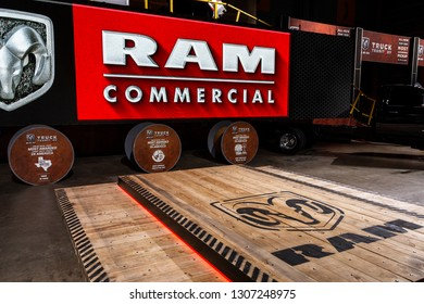 Chicago, IL, USA - February 7, 2019: Show of an empty presention scene of RAM at the 2019 Chicago Auto Show.