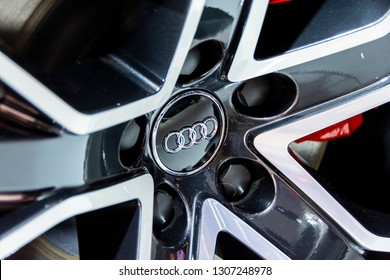 Chicago, IL, USA - February 7, 2019: Shot of an Audi badge on an alloy wheel at the 2019 Chicago Auto Show.