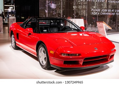 Chicago, IL, USA - February 7, 2019: Shot of the 1991 Acura NSX at the 2019 Chicago Auto Show, celebrating 30 years of the NSX.