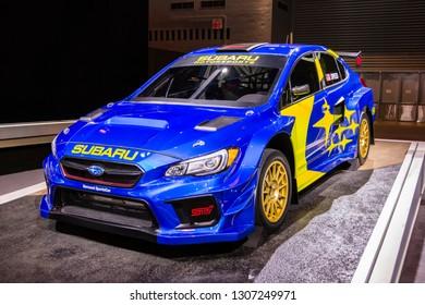 Chicago, IL, USA - February 7, 2019: Shot of the 2019 Subaru WRX STI VT19x Rallycross Supercar prepared by Vermont Sportscar at the 2019 Chicago Auto Show.