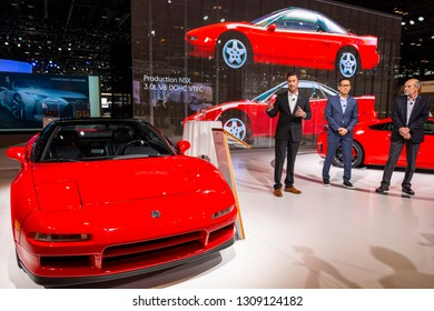 Chicago, IL, USA - February 7, 2019: Sage Marie discussing 30 years of the Acura NSX with Acura's chief designer, Jon Ikeda and former editor of Car and Driver, Csaba Csere at 2019 Chicago Auto Show.