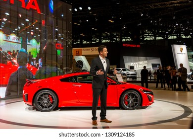Chicago, IL, USA - February 7, 2019: Sage Marie - Asst. Vice President of PR at Honda giving a speech about 30 years of NSX at the 2019 Chicago Auto Show.