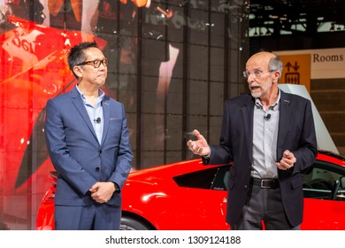 Chicago, IL, USA - February 7, 2019: Acura's chief designer, Jon Ikeda and former editor of Car and Driver discussing 30 years of the NSX at the 2019 Chicago Auto Show.
