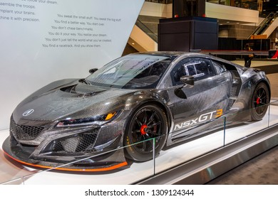 Chicago, IL, USA - February 7, 2019: Shot of the Acura NSX GT3 racing car at the 2019 Chicago Auto Show.