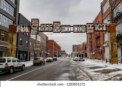 Chicago, IL / USA - January 13, 2019: Sign at the entrance to the famous Fulton Market District, a cool shopping and dining area in the West Loop neighborhood of Chicago, downtown.