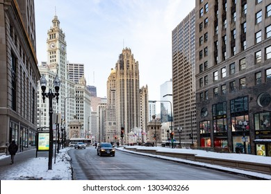 Chicago, Il / USA - January 26 2019: the Winter in Chicago