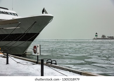 Chicago, IL / USA - January 26 2019: Winter in Chicago
