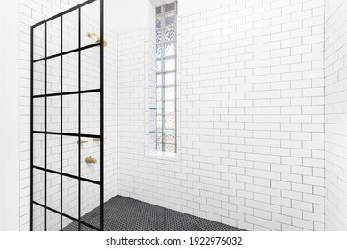 CHICAGO, IL, USA - JULY 13, 2019: A black French Linea Toulon frameless shower screen with white subway tiles on the walls, black circular tiles on the floor, and glass block windows with shelves.