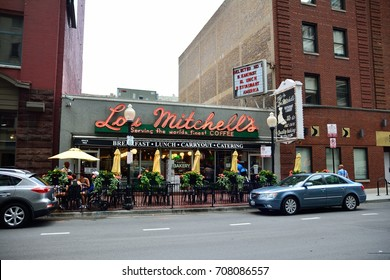 CHICAGO, IL - USA - JULY 16: Lou Mitchell's Restaurant, is a Chicago diner and was frequented by many people on the start of route 66 in Chicago on July 16, 2017.