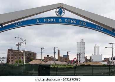 Chicago, IL / USA - June 23 2019: Former A. Finkl & Sons Steel Mill Entrance in Lincoln Park