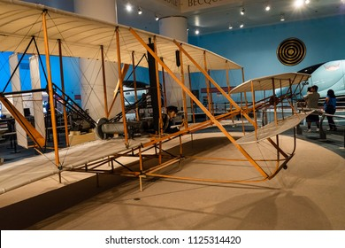 CHICAGO, IL, USA - JUNE 24, 2018: The Museum of Science and Industry features a replica version of the Wright Flyer that the originally built in 1903 by the Wright Brothers.