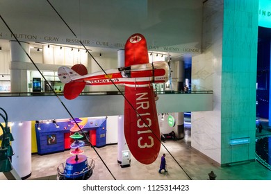 CHICAGO, IL, USA - JUNE 24, 2018: The Museum of Science and Industry features a 1930 Texaco TravelAir Model R Racer, which was a plane from the golden age of air racing.