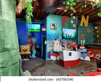 Chicago, IL / USA - June 24 2019: Inside Replay Lincoln Park for their Sponge Bob Squarepants pop up bar