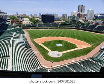 Chicago, IL / USA - June 29 2019: Inside Wrigley Field on a clear day in the summer