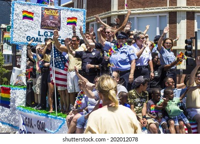 Chicago, IL, USA - June 29, 2014: Chicago PRIDE Parade Celebrating the LGBT community and the Religious Freedom and Marriage Fairness Act that went into effect on June 1st of the same year.