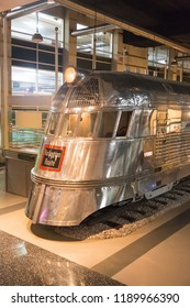 """CHICAGO, IL, USA - JYLY 29, 2018: The Museum of Science and Industry, Pioneer Zephyr train, route Bourlington. Nonstop """"Dawn to Dusk"""" speed run from Denver to Chicago."""