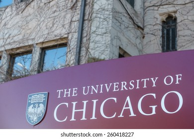 CHICAGO, IL, USA - MARCH 12, 2015: Sign for the University of Chicago in the Hyde Park area of Chicago, IL, USA on March 12, 2015.