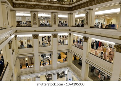 Chicago, Il, USA - march 14, 2016:  Interior view of the shopping mall Macy's in Chicago, Illinois.