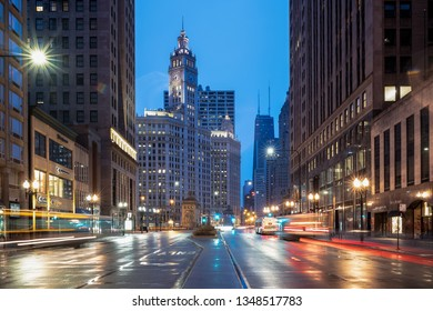 CHICAGO, IL, USA – MARCH 21, 2019: Michigan Avenue dawn – downtown Chicago, IL, USA