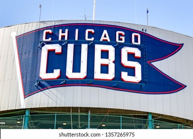 CHICAGO, IL, USA - MARCH 25, 2019: Major League Baseball's Chicago Cubs' Wrigley Field stadium with the logo painted on the exterior.