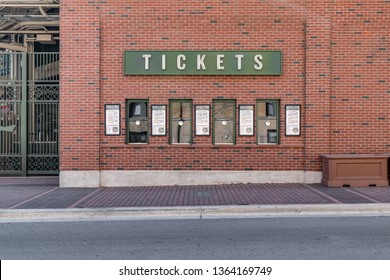 CHICAGO, IL, USA - MARCH 25, 2019: A ticket window at the Chicago Cubs' Wrigley Field.