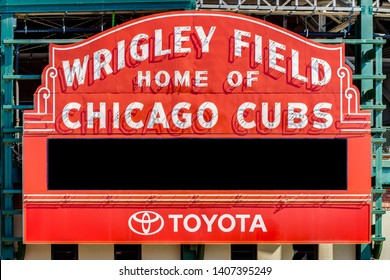 CHICAGO, IL, USA - MARCH 25, 2019: Major League Baseball's Chicago Cubs' Wrigley Field stadium blank marquee sign.